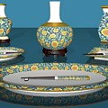 Asian Dining And Vases by Alfred Price