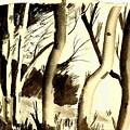 Aspen Trees Watercolor by Eleanor Robinson