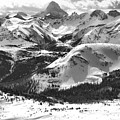 Assiniboine View From Sunshine Village Black And White by Adam Jewell