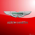 Aston Martin - 3 D Badge On Red by Serge Averbukh