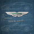 Aston Martin 3 D Badge Over Aston Martin D B 9 Blueprint by Serge Averbukh