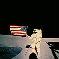 Astronaut With Us Flag On Moon by Nasa