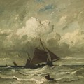 At Sea 1870 by Dupre Jules