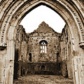 Athassel Priory Tipperary Ireland Medieval Ruins Decorative Arched Doorway Into Great Hall Sepia by Shawn O'Brien