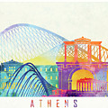 Athens Landmarks Watercolor Poster by Pablo Romero