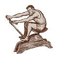 Athlete Exercising Vintage Rowing Machine Etching by Aloysius Patrimonio