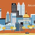 Atlanta Georgia Horizontal Skyline by Karen Young
