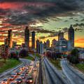 Atlanta Nite Lights Atlanta Downtown Cityscape Art by Reid Callaway