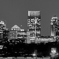 Atlanta Skyline At Night Downtown Midtown Black And White Bw Panorama by Jon Holiday