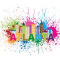 Atlanta Skyline Paint Splatter Text Illustration by Jit Lim