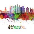 Atlanta V2 Skyline In Watercolor by Pablo Romero