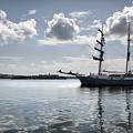 Atlantis - A Three Masts Vessel In Port Mahon Crystaline Water by Pedro Cardona Llambias