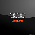 Audi 3 D Badge On Black by Serge Averbukh