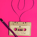 Audio Cassette With Heart Shape Tape On Pink Background by Jorgo Photography - Wall Art Gallery