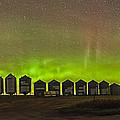 Aurora Borealis Behind Grain Bins by Alan Dyer
