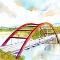 Austin 360 Bridge - Pennybacker by Carlin Blahnik CarlinArtWatercolor