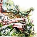 Austin A40 Van Rusting Away In The Garden by Geoff Latter