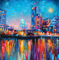 Austin Art Impressionistic Skyline Painting #2 by Svetlana Novikova