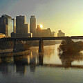 Austin Hike And Bike Trail - Pfluger Pedestrian Bridge - Fog Lifting Bright Panorama by Felipe Adan Lerma