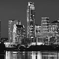 Austin Skyline At Night Black And White Bw Panorama Texas by Jon Holiday