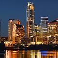 Austin Skyline At Night Color Panorama Texas by Jon Holiday