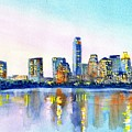 Austin Texas Skyline by Carlin Blahnik CarlinArtWatercolor