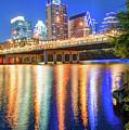 Austin Texas Skyline Night Reflections by Gregory Ballos