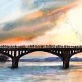 Austin, Tx Congress Bridge Bats by Carlin Blahnik CarlinArtWatercolor