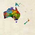 Australia Continent Watercolor Map by Michael Tompsett
