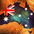 Australian Flag On Rock by Phill Petrovic