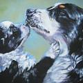 Australian Shepherd Mom And Pup by Lee Ann Shepard