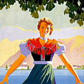 Austria, Young Woman In Traditional Dress Invites You, Danube River by Long Shot