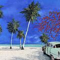 Auto Sulla Spiaggia by Guido Borelli