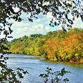 Autumn Along The New River - Bisset Park - Radford Virginia by Kerri Farley