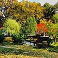 Autumn At Lafayette Park Bridge Square by Debbie Fenelon