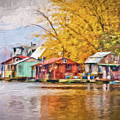 Autumn At Latsch Island Painting Version by Kari Yearous