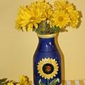 Autumn Blossoms And Blue Vase by Dora Sofia Caputo Photographic Design and Fine Art