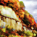 Autumn Cliffs On Way To Hannibal, Missouri by Lila Bahl