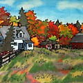 Autumn Farmstead Silk Painting by Linda Marcille