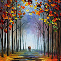 Autumn Fog 4 - Palette Knife Oil Painting On Canvas By Leonid Afremov by Leonid Afremov