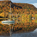 Autumn Hillsides With Sailboat Winona Minnesota Photo by Kari Yearous