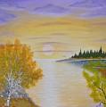 Autumn Lake Sunset  by Georgeta  Blanaru