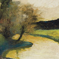 Autumn Landscape Of Brook In The Evening Light by Lesser Ury