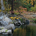Autumn Leaves And Merced River, Mariposa County, California by Troy Montemayor