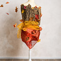 Autumn Mannequin With Falling Leaves by Amanda Elwell