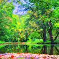 Autumn Pond In Gladwyne by Bill Cannon