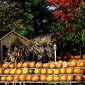 Autumn Pumpkins And Cornstalks Graphic Effect by Rose Santuci-Sofranko