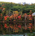 Autumn Reflections And Cabin On Baker Pond by Nancy Griswold