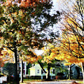 Autumn Street With Yellow House by Susan Savad