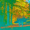 Autumn Woodland Walk Turquoise by Mo Barton